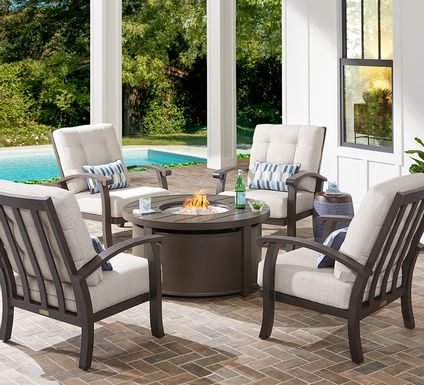 Lake Breeze Aged Bronze 5 Pc Fire Pit Set with Parchment Cushions