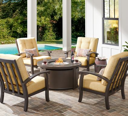 Lake Breeze Aged Bronze 5 Pc Fire Pit Set with Straw Cushions