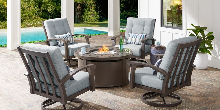 Lake Breeze Aged Bronze 5 Pc Fire Pit Set with Swivel Chairs and Mist Cushions