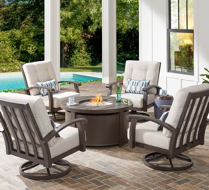 Lake Breeze Aged Bronze 5 Pc Fire Pit Set with Swivel Chairs and Parchment Cushions