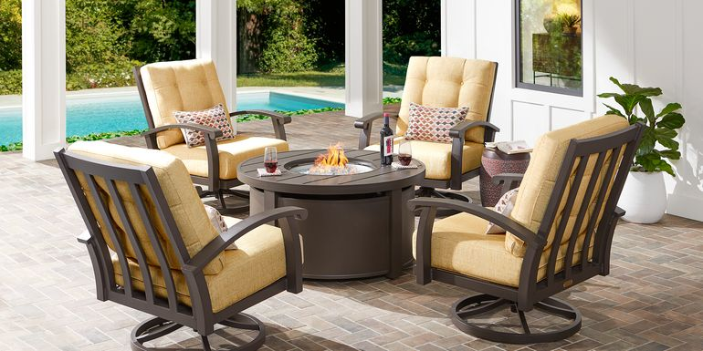Lake Breeze Aged Bronze 5 Pc Fire Pit Set with Swivel Chairs and Straw Cushions