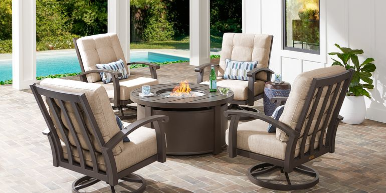 Lake Breeze Aged Bronze 5 Pc Fire Pit Set with Swivel Chairs and Wren Cushions
