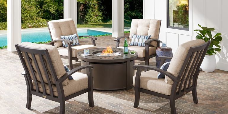 Lake Breeze Aged Bronze 5 Pc Fire Pit Set with Wren Cushions