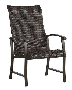 Lake Breeze Aged Bronze Black Wicker Outdoor Dining Chair