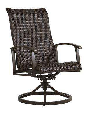 Lake Breeze Aged Bronze Black Wicker Outdoor Swivel Dining Chair