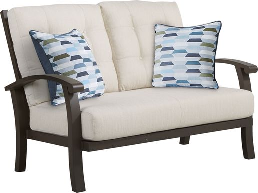 Lake Breeze Aged Bronze Outdoor Loveseat with Parchment Cushions