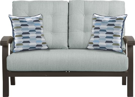 Lake Breeze Aged Bronze Outdoor Loveseat with Mist Cushions
