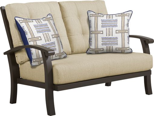 Lake Breeze Aged Bronze Outdoor Loveseat with Straw Cushions
