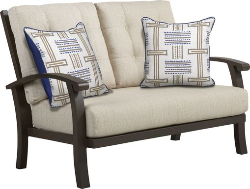 Lake Breeze Aged Bronze Outdoor Loveseat with Wren Cushions