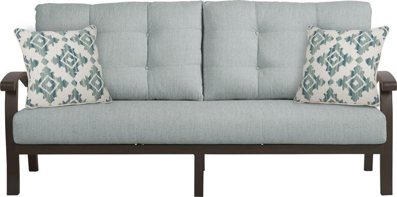 Lake Breeze Aged Bronze Outdoor Sofa with Seafoam Cushions