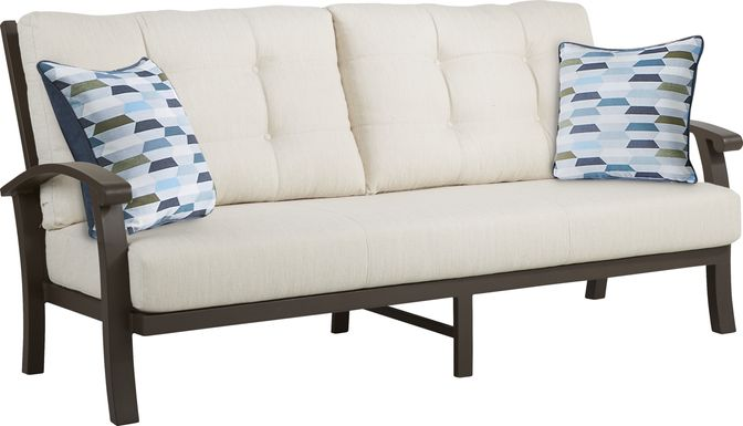 Lake Breeze Aged Bronze Outdoor Sofa with Parchment Cushions