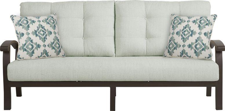 Lake Breeze Aged Bronze Outdoor Sofa With Rollo Seafoam Cushions