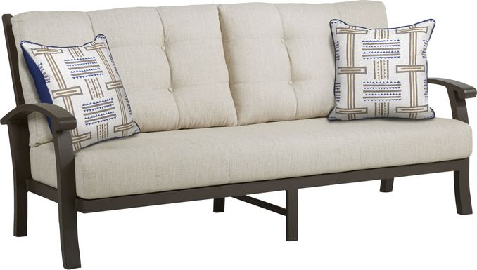 Lake Breeze Aged Bronze Outdoor Sofa with Wren Cushions