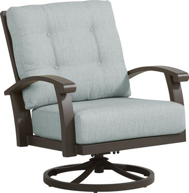 Lake Breeze Aged Bronze Outdoor Swivel Club Chair with Mist Cushions