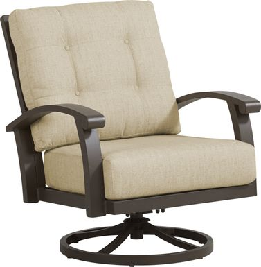 Lake Breeze Aged Bronze Outdoor Swivel Club Chair with Straw Cushions
