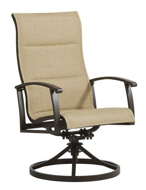 Lake Breeze Aged Bronze Outdoor Swivel Sling Dining Chair