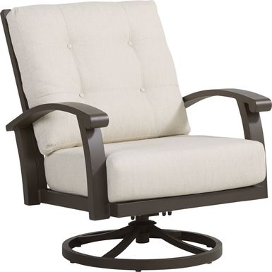 Lake Breeze Aged Bronze Outdoor Swivel Club Chair with Parchment Cushions