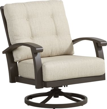 Lake Breeze Aged Bronze Outdoor Swivel Club Chair with Wren Cushions