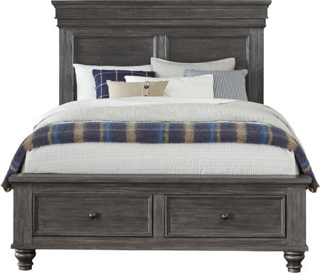 Lake Town Gray 3 Pc King Panel Bed with Storage