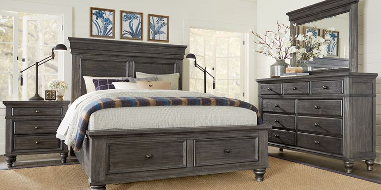 Lake Town Gray 7 Pc Queen Panel Bedroom with Storage