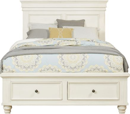 Lake Town Off-White 3 Pc Queen Panel Bed with Storage