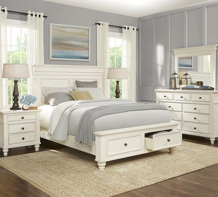 Lake Town Off-White 5 Pc King Panel Bedroom with Storage