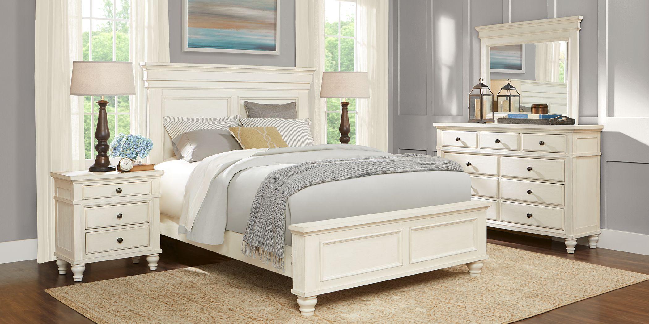 Lake Town Off-White 7 Pc King Panel Bedroom
