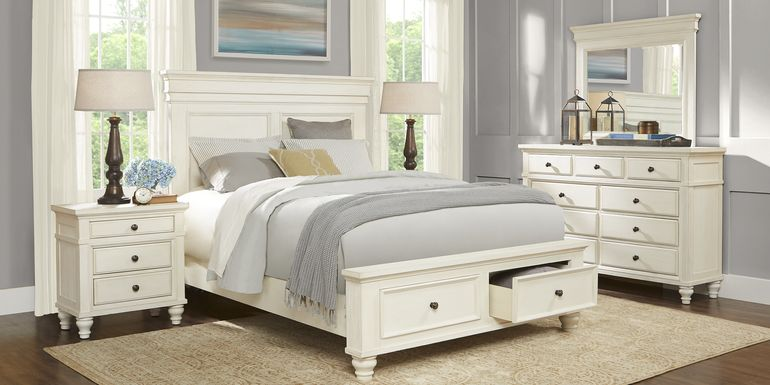 Lake Town Off-White 7 Pc Queen Panel Bedroom with Storage