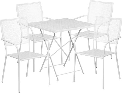 Lakeville White 5 Pc 28 in. Square Folding Patio Set