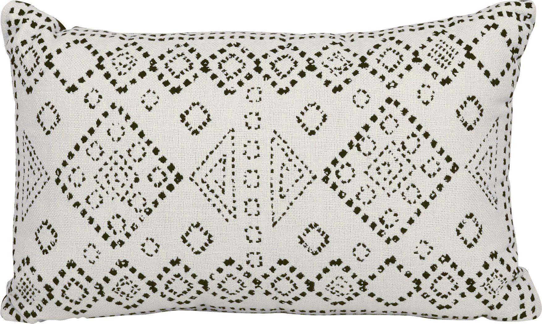 Kilim Stitch White Indoor/Outdoor Accent Pillow
