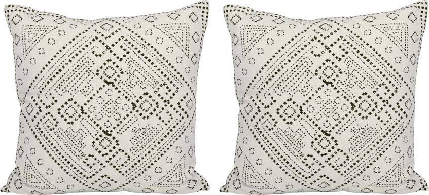 Kilim Stitch White Indoor/Outdoor Accent Pillows, Set of Two