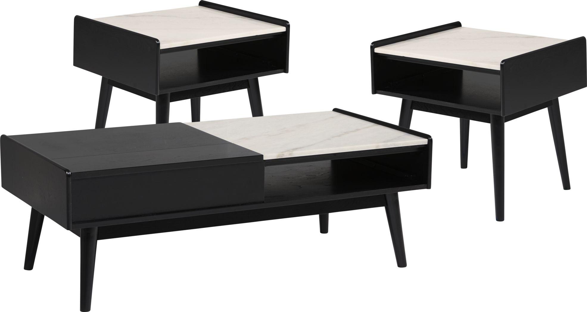 Lanette Black 3 Pc Table Set