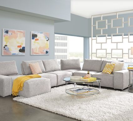 Laney Park Light Gray 6 Pc Sectional