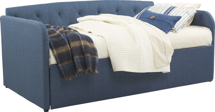 Lanie Blue Tufted Daybed with Trundle