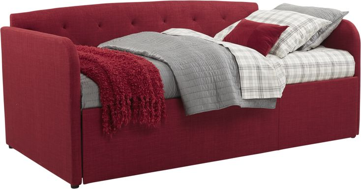 Lanie Red Tufted Daybed with Trundle