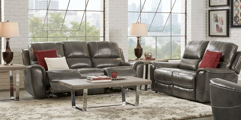 Lanzo Gray Leather 3 Pc Living Room with Reclining Sofa