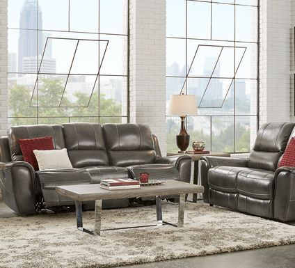 Lanzo Gray Leather 5 Pc Living Room with Reclining Sofa