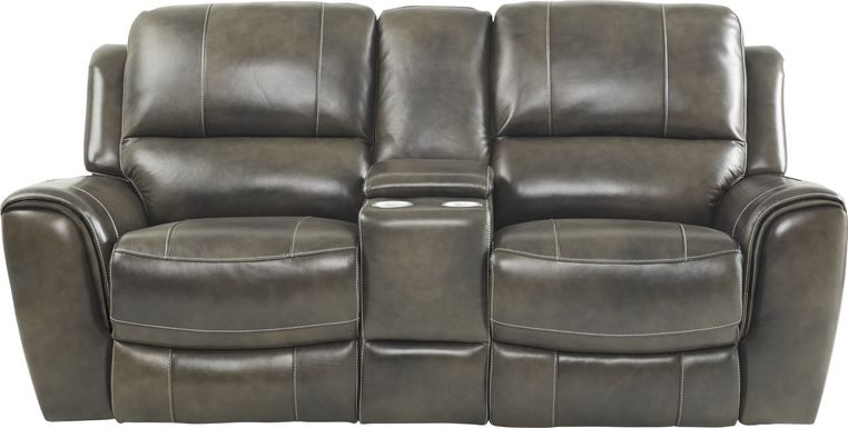 Lanzo Gray Leather Dual Power Reclining Console Loveseat