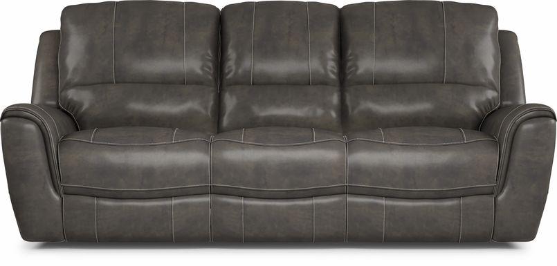 Lanzo Gray Leather Dual Power Reclining Sofa