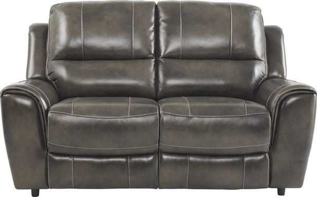 Lanzo Gray Leather Loveseat
