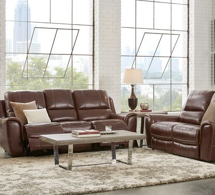 Lanzo Merlot Leather 5 Pc Living Room with Reclining Sofa