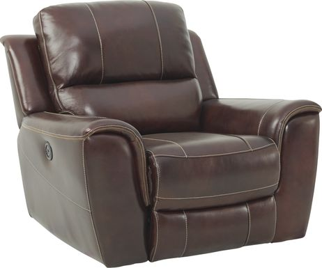 Lanzo Merlot Leather Dual Power Recliner