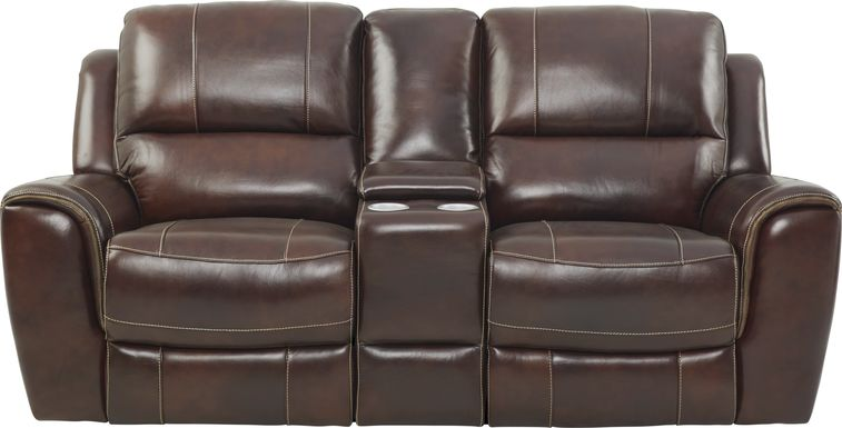 Lanzo Merlot Leather Dual Power Reclining Console Loveseat