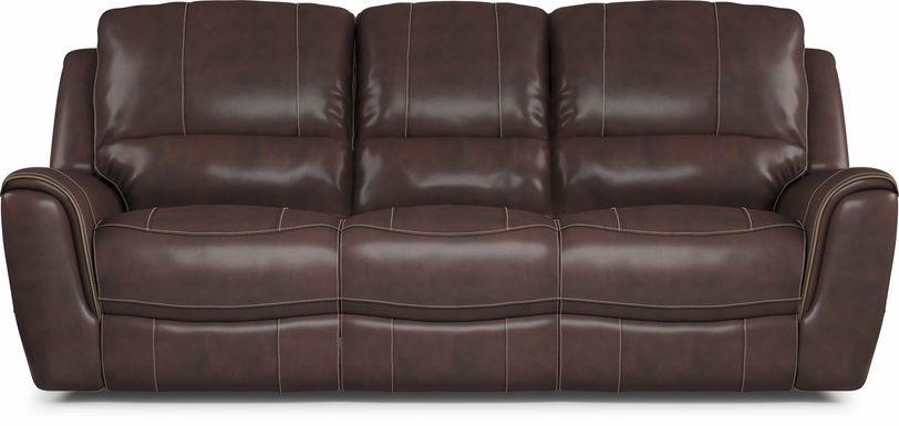Lanzo Merlot Leather Dual Power Reclining Sofa