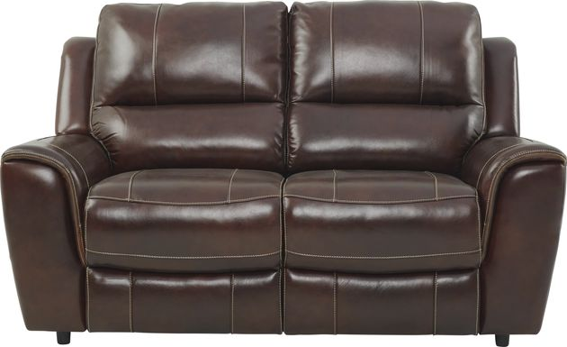 Lanzo Merlot Leather Loveseat