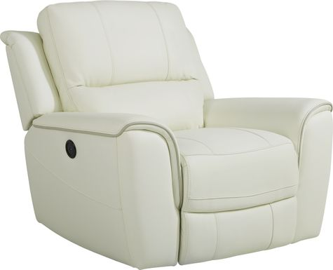 Lanzo Off-White Leather Dual Power Recliner