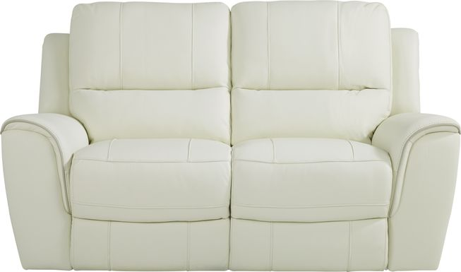 Lanzo Off-White Leather Loveseat