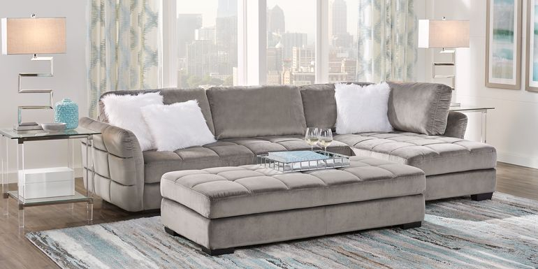 Gray Sectional Living Rooms Sofas Fabric Microfiber