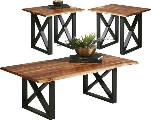 Lark Brown 3 Pc Table Set