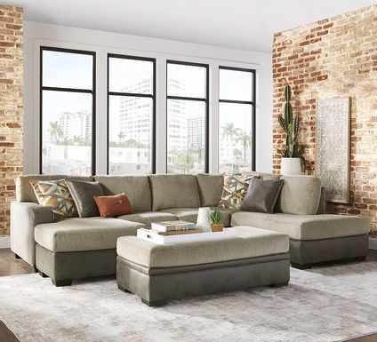 Larna Park Taupe 3 Pc Sectional Living Room